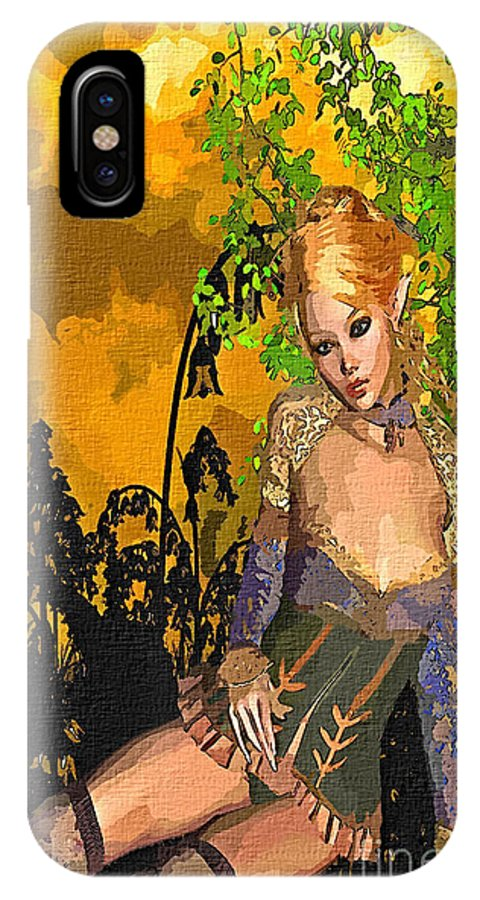 Elf IPhone X / XS Case featuring the mixed media Day Dreams Elf Fantasy Art by Dori Marie Art By Design
