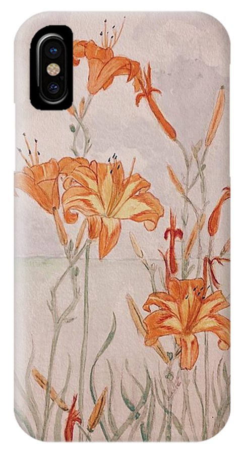 Day Lilies IPhone X Case featuring the painting Day Lililes by Anna Willard