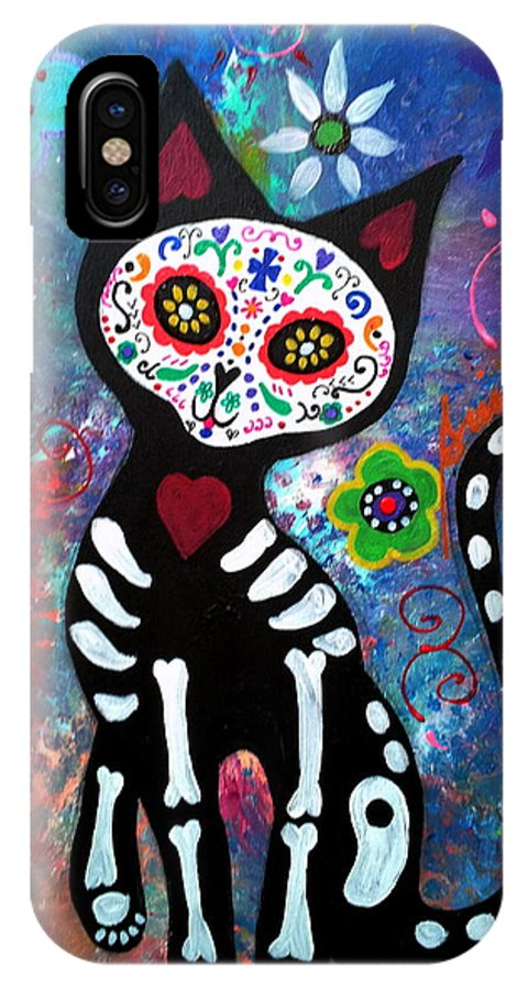 Dod IPhone X Case featuring the painting Day Of The Dead Cat by Pristine Cartera Turkus