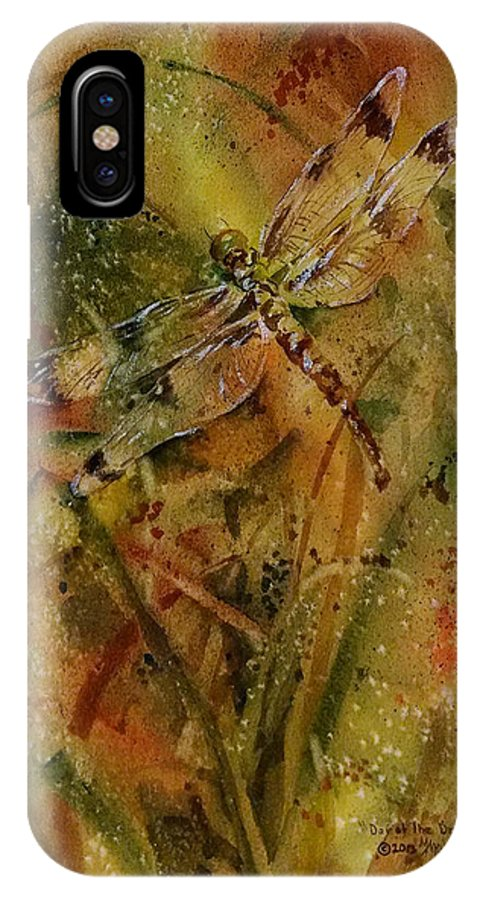 Dragonfly IPhone X Case featuring the painting Day Of The Dragonfly by Michele Thorp