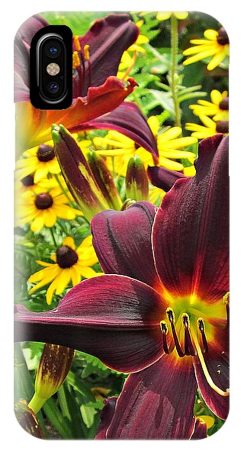American Revolution Daylily IPhone X Case featuring the photograph Daylilies And Rudbeckia by MTBobbins Photography
