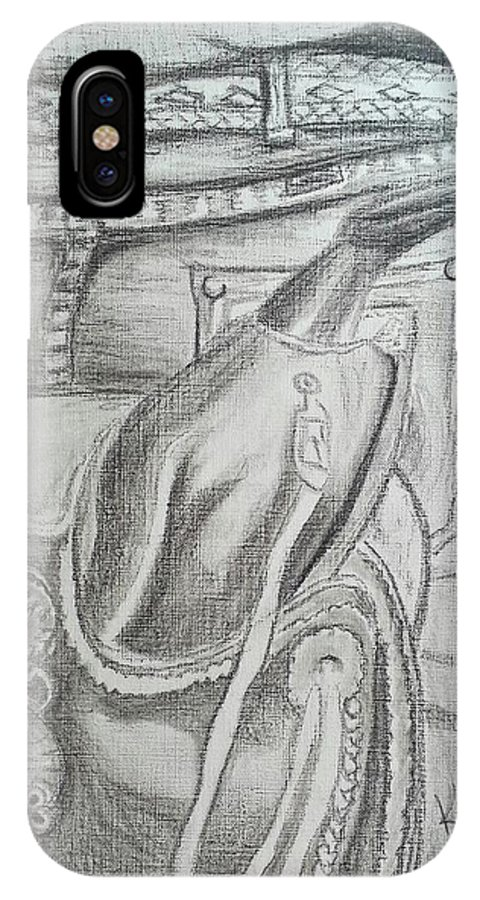 Saddle IPhone X Case featuring the drawing Days Done by Kendra DeBerry