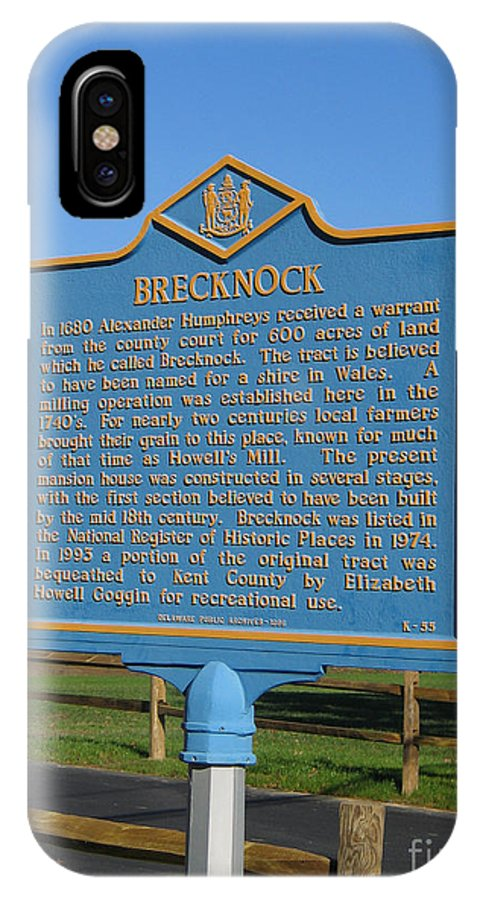 Historic Marker IPhone X Case featuring the photograph De-kc55 Brecknock by Jason O Watson