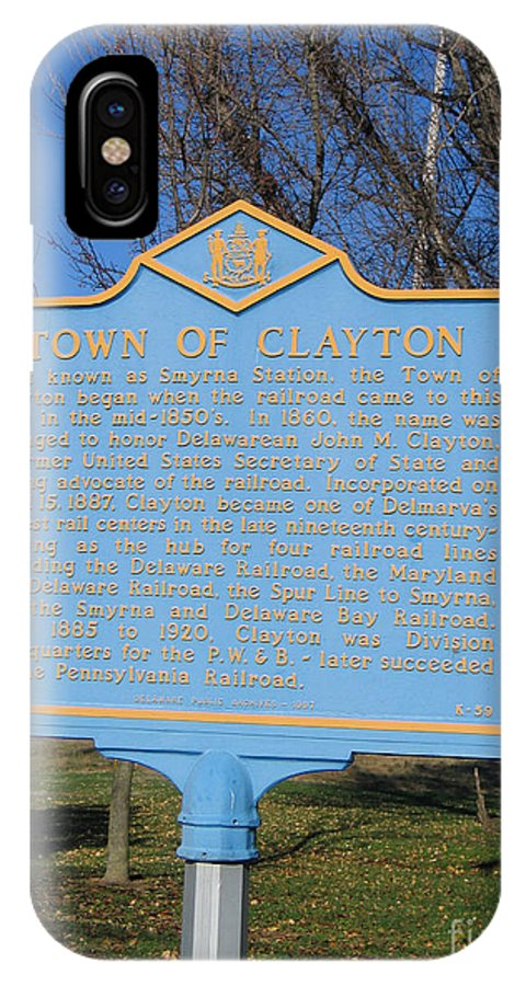 Historic Marker IPhone X Case featuring the photograph De-kc59 Town Of Clayton by Jason O Watson