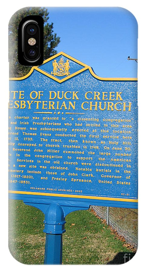 Historic Marker IPhone X Case featuring the photograph De-kc81 Site Of Duck Creek Presbyterian Church by Jason O Watson