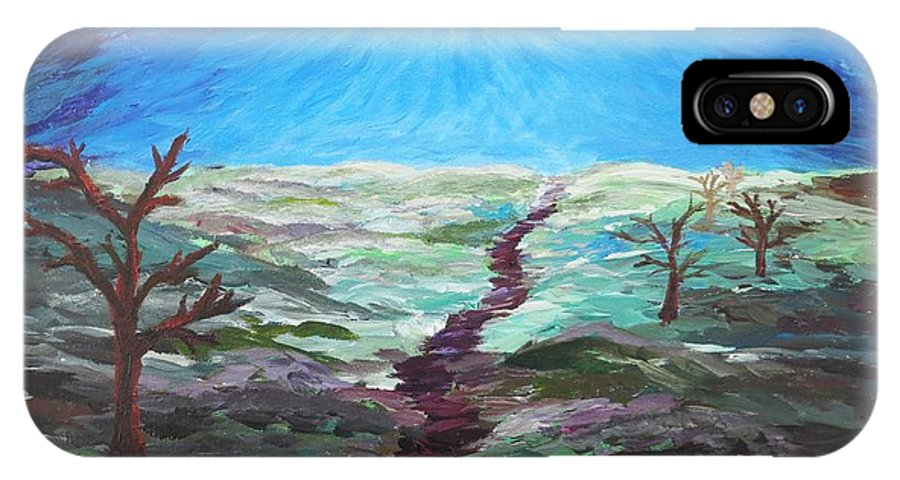 Tree IPhone X Case featuring the painting Dead Trees On The Moor by CE Dill