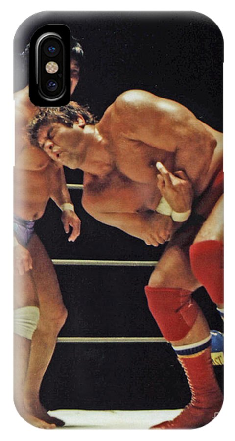 Old School Wrestling IPhone X / XS Case featuring the photograph Dean Ho Vs Don Muraco In Old School Wrestling From The Cow Palace by Jim Fitzpatrick