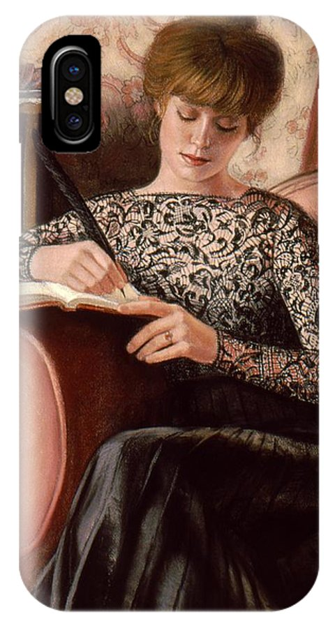 Victorian Lady IPhone X Case featuring the painting Dear Diary by Sue Halstenberg