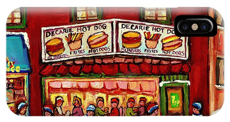 Montreal IPhone X Case featuring the painting Decarie Hot Dog Restaurant Cosmix Comic Store Montreal Paintings Hockey Art Winter Scenes C Spandau by Carole Spandau