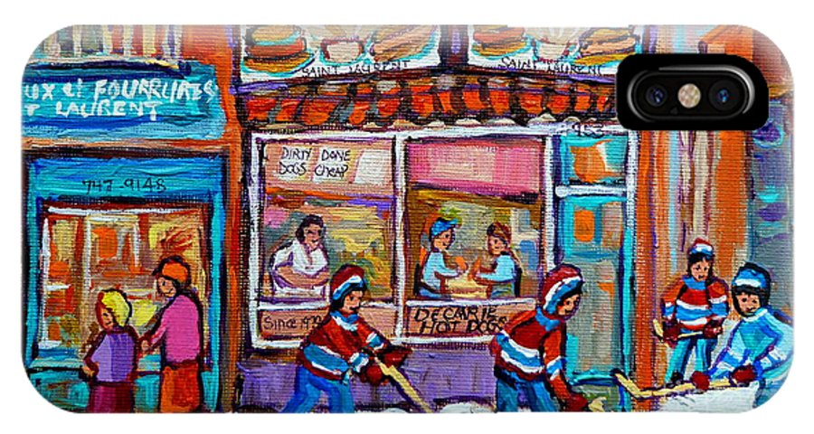 Montreal IPhone X Case featuring the painting Decarie Hot Dog Restaurant Ville St. Laurent Montreal by Carole Spandau