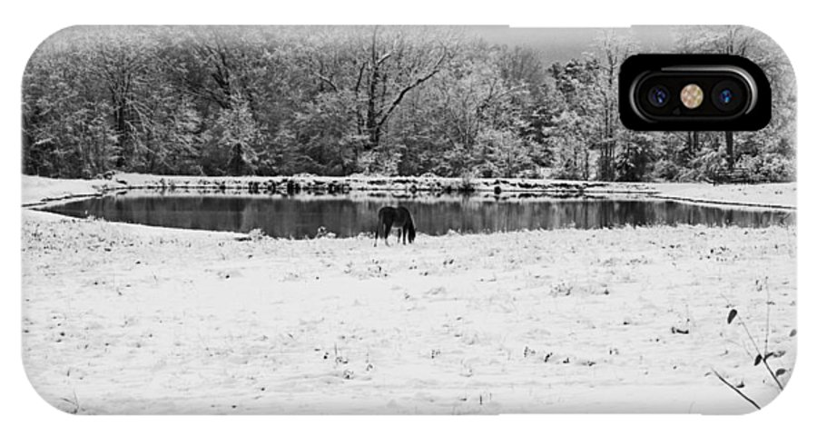 Snow; South Carolina; Lancaster; Landscape; Winter IPhone X Case featuring the photograph December Snow 006 B-w by Andy Lawless