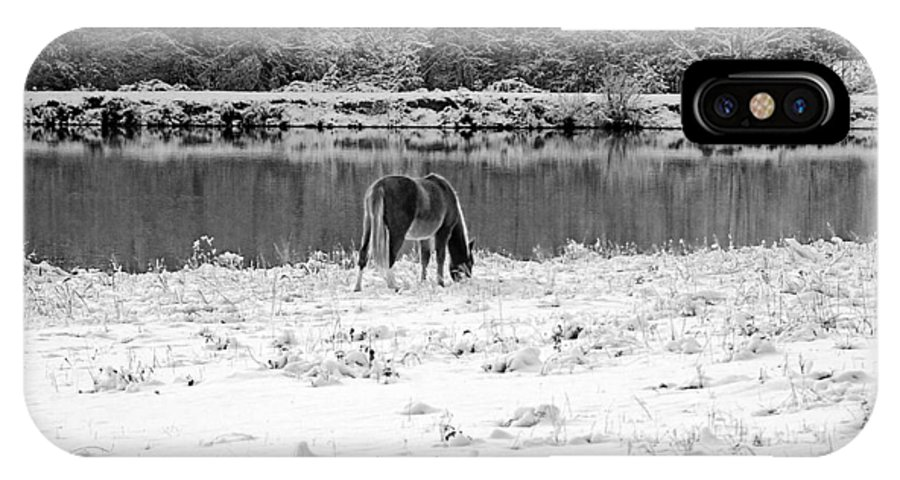 Landscape IPhone X Case featuring the photograph December Snow 007 B-w by Andy Lawless