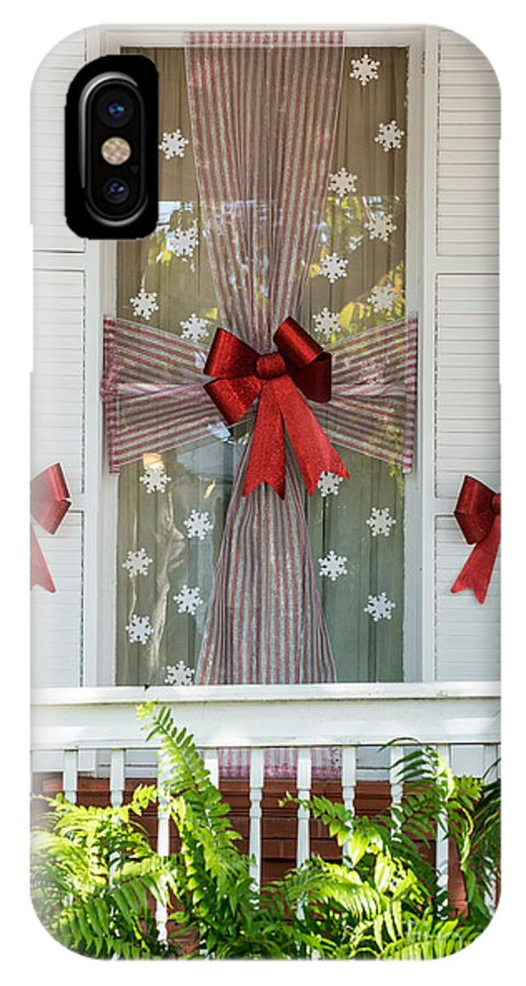 19th Century Mansion IPhone X Case featuring the photograph Decorated Christmas Window Key West by Ian Monk
