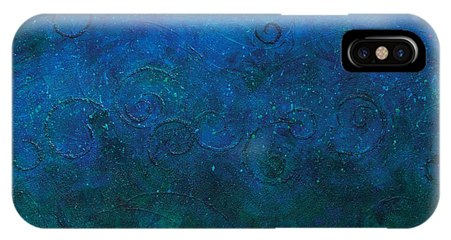 Abstract Acrylic Painting IPhone X Case featuring the painting Deep Blue Sea by Julie Acquaviva Hayes