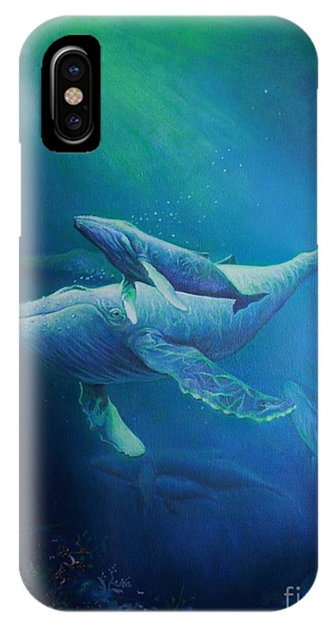 Humpback Whales IPhone X Case featuring the painting Deep Blue Sea by Martin Lacasse