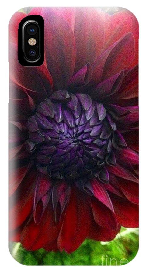 Dahlia IPhone X Case featuring the photograph Deep Red To Purple Dahlia Flower by Susan Garren