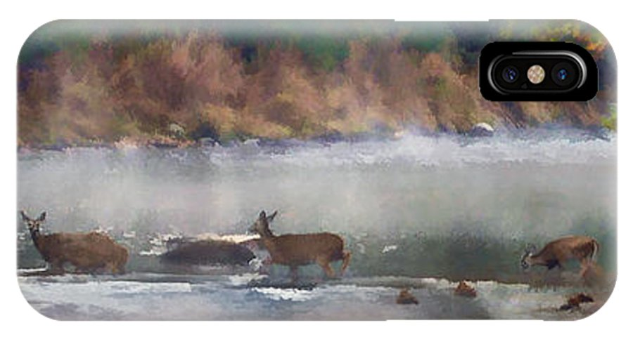 Deer IPhone X Case featuring the photograph Deer Crossing Stream Panoramic by Dan Friend