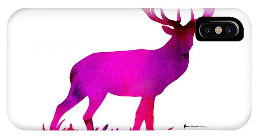 Purple Deer Watercolor Painting Art iphone case