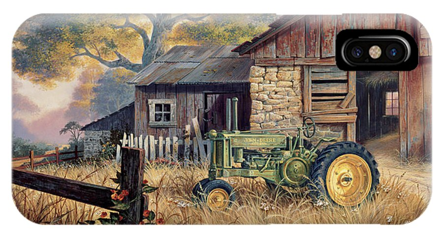 Landscape IPhone X Case featuring the painting Deere Country by Michael Humphries