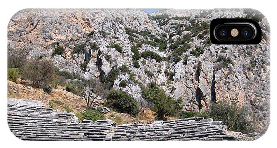 Athens IPhone X Case featuring the photograph Delphi Stadium Ruins 2 by Teresa Ruiz