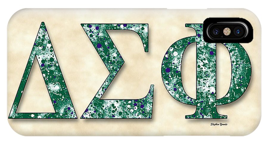 Delta Sigma Phi IPhone X Case featuring the digital art Delta Sigma Phi - Parchment by Stephen Younts