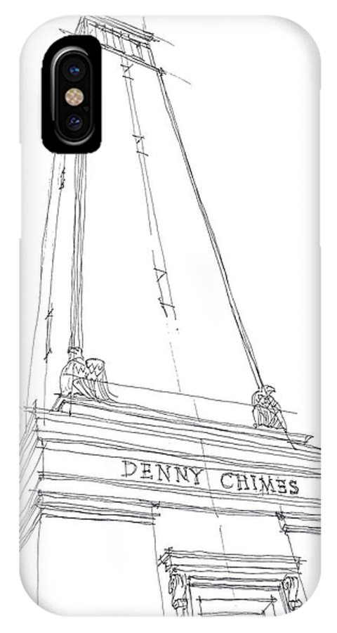 Sketch IPhone X Case featuring the drawing Denny Chimes Sketch by Calvin Durham