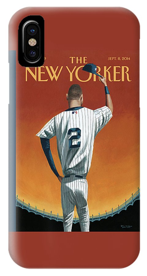 Retirement IPhone X Case featuring the painting Derek Jeter Bows Out by Mark Ulriksen