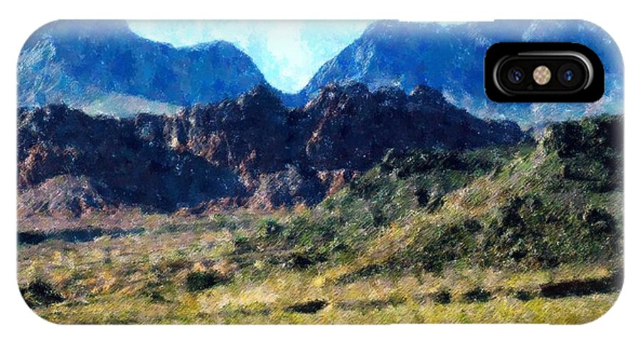 Desert IPhone X Case featuring the mixed media Desert Blue by Florene Welebny