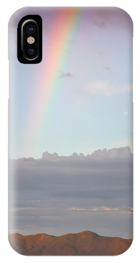 Rainbow IPhone X Case featuring the photograph Desert Monsoon Rainbow by Holly Storz