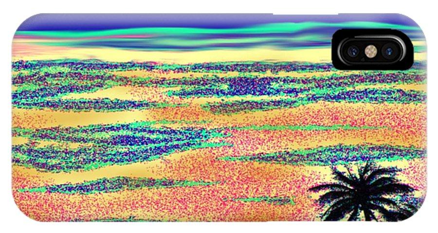 Desert Morning Sky Sand Palm Shadow Landscape IPhone X Case featuring the digital art Desert morning by Dr Loifer Vladimir