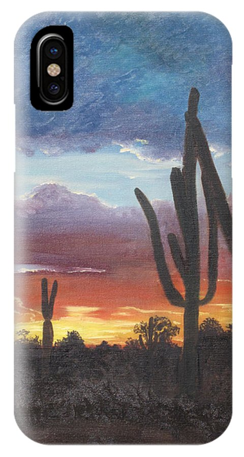painted Desert IPhone X Case featuring the painting Desert Silhouette by Barbara McDevitt