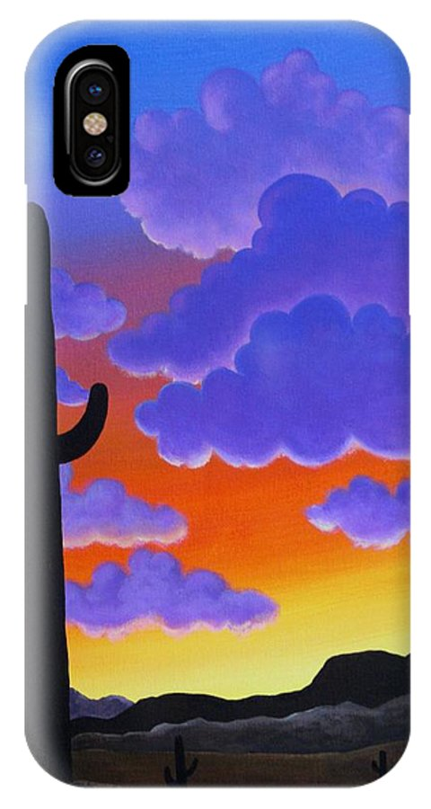 Desert IPhone X Case featuring the painting Desert Sunset by Carol Sabo