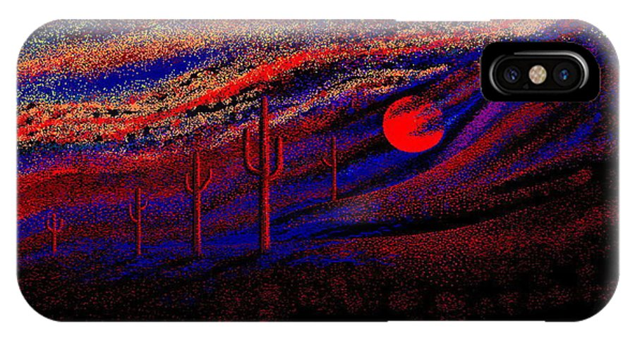 Desert Sunset Quickly Sketched In Four And Half Hours.... IPhone Case featuring the digital art Desert Sunset by Larry Lehman