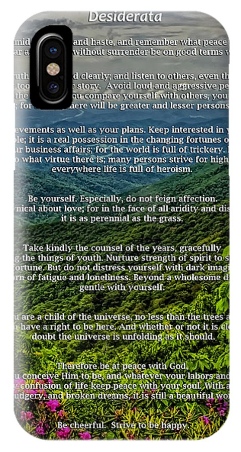 Desiderata IPhone X Case featuring the photograph Desiderata by Lynne Jenkins