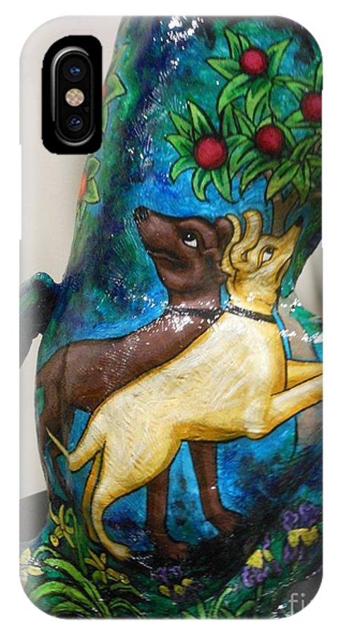 Dog IPhone X Case featuring the painting Detail Of Hunt For The Unicorn On A Full Moon by Genevieve Esson