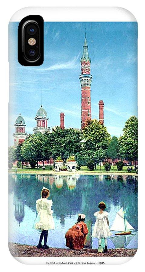 Detroit IPhone X Case featuring the digital art Detroit - Gladwin Waterworks Park - Jefferson Avenue At The Detroit River - 1905 by John Madison