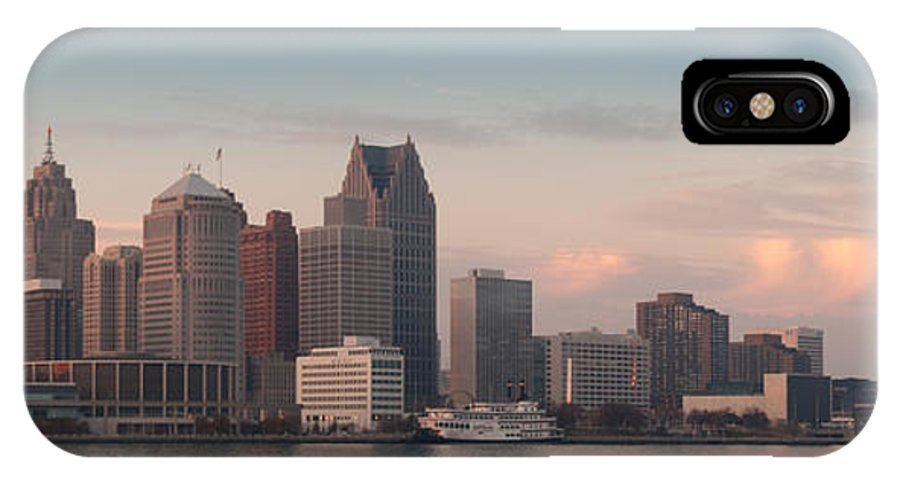 Detroit IPhone X Case featuring the photograph Detroit At Dusk by Andreas Freund