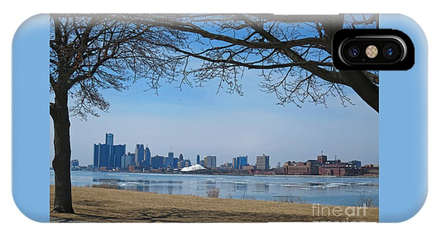 Detroit IPhone X Case featuring the photograph Detroit Cityscape Framed by Ann Horn
