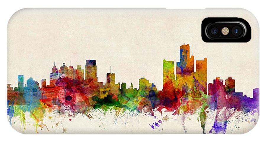Watercolour IPhone X Case featuring the digital art Detroit Michigan Skyline by Michael Tompsett