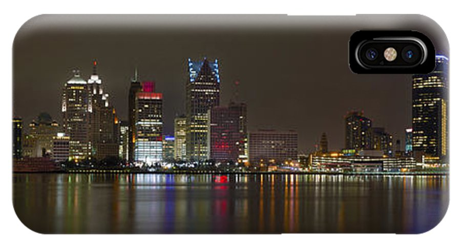 Detroit Skyline IPhone X Case featuring the photograph Detroit Nightime Skyline by Kevin Whitworth