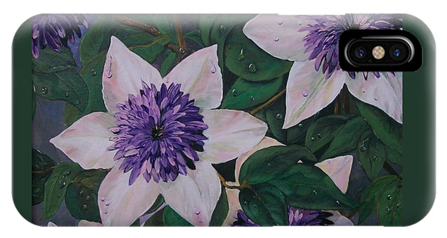Clematis IPhone X Case featuring the painting Clematis After The Rain by Sharon Duguay