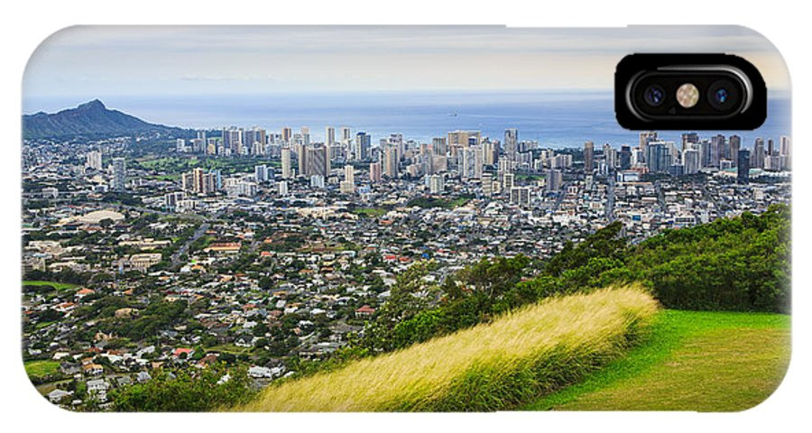 View IPhone X Case featuring the photograph Diamond Head And The City Of Honolulu by Ami Parikh