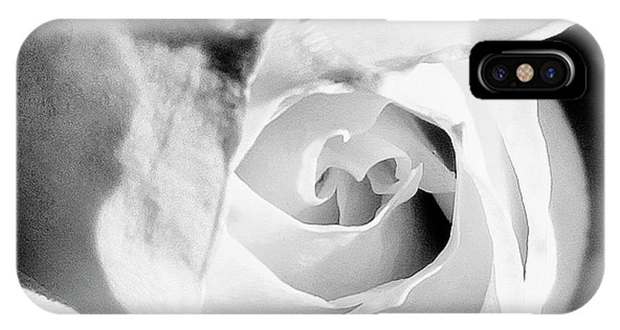 Rose IPhone X Case featuring the photograph Diamond Rose Bw Palm Springs by William Dey