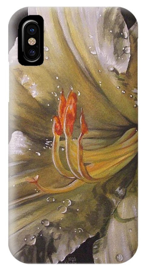 Daylily IPhone X Case featuring the painting Diamonds by Barbara Keith