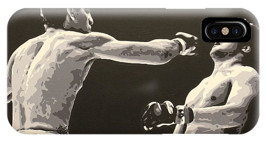 Nick Diaz IPhone X / XS Case featuring the painting Diaz V. Gomi by Geo Thomson