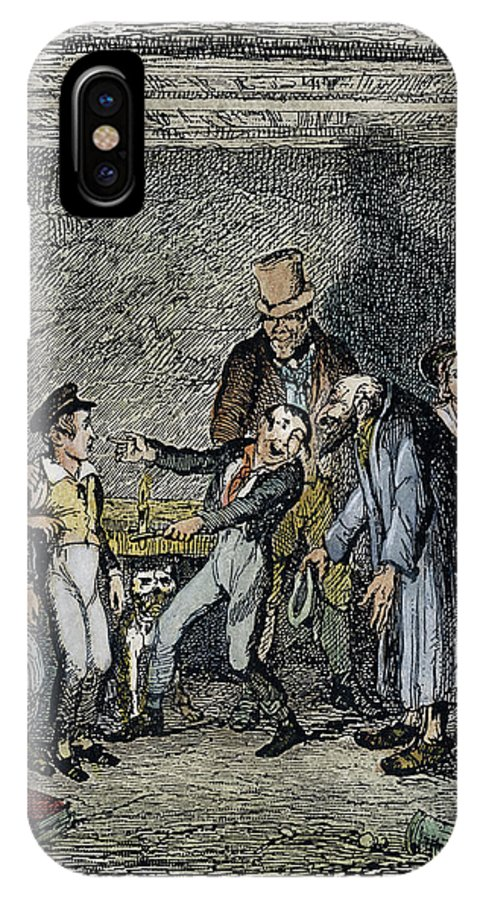 1837 IPhone X Case featuring the drawing Dickens Oliver Twist, 1838 by Granger