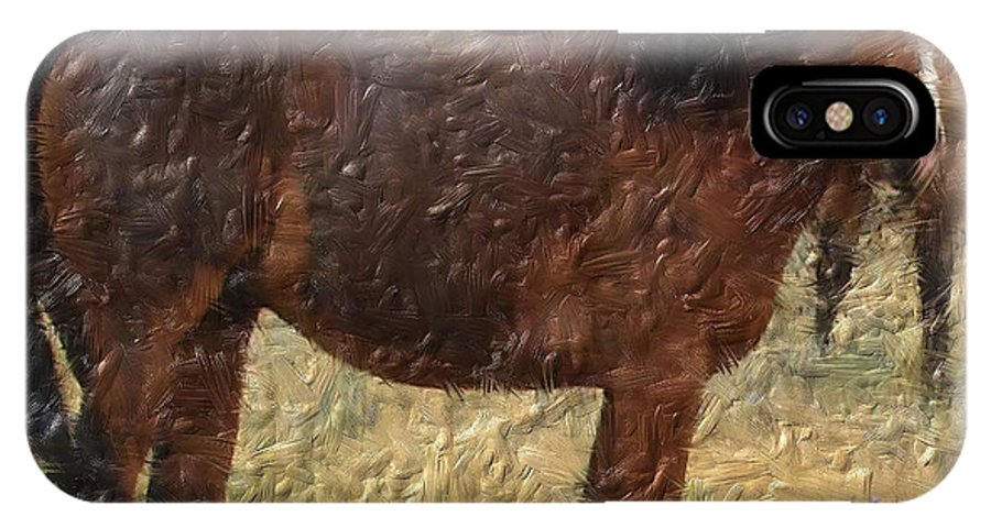 Horses IPhone X Case featuring the digital art Digital Oil Painting Horses by Cathy Anderson
