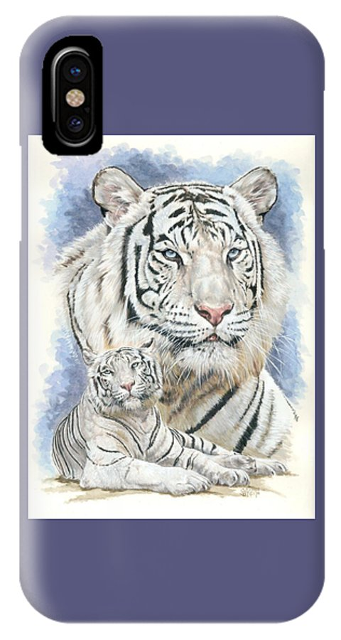 Big Cat IPhone X Case featuring the mixed media Dignity by Barbara Keith