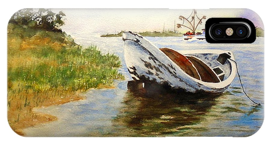 Watercolor IPhone X Case featuring the painting Dingy And Shrimper by Sandra Stone