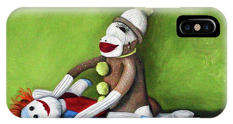 Sock Doll IPhone X Case featuring the painting Dirty Socks by Leah Saulnier The Painting Maniac